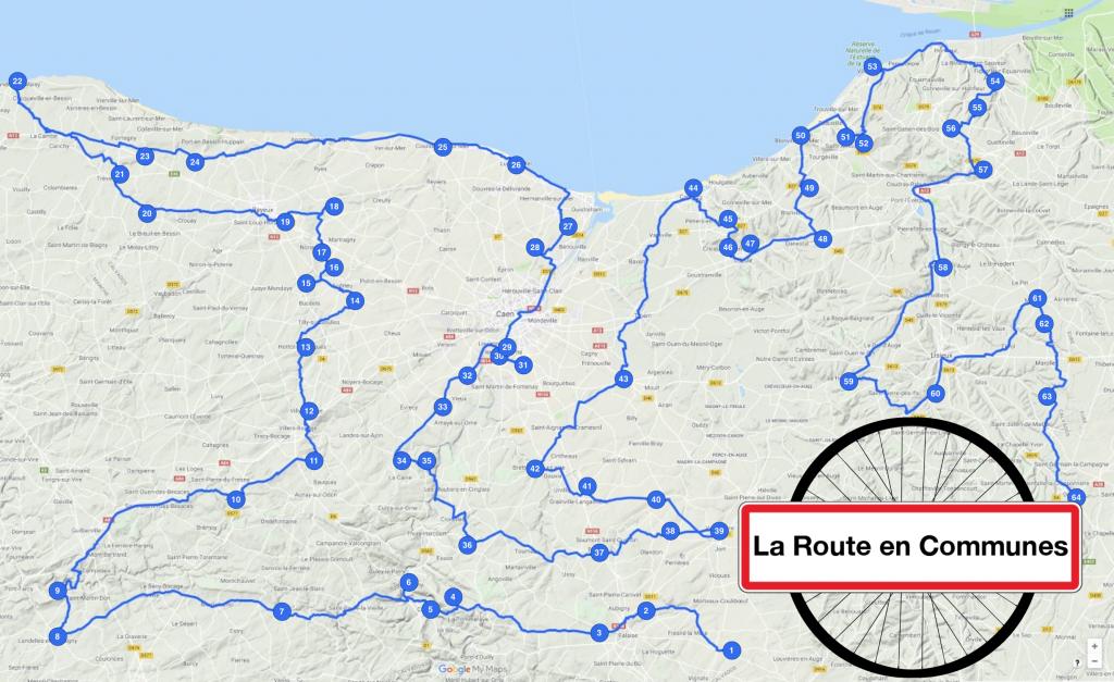 Carte du trajet pris par Ulysse Blau à travers le Calvados. En trois mois, il s'est rendu dans 64 communes choisies au hasard. / Crédits : Ulysse Blau