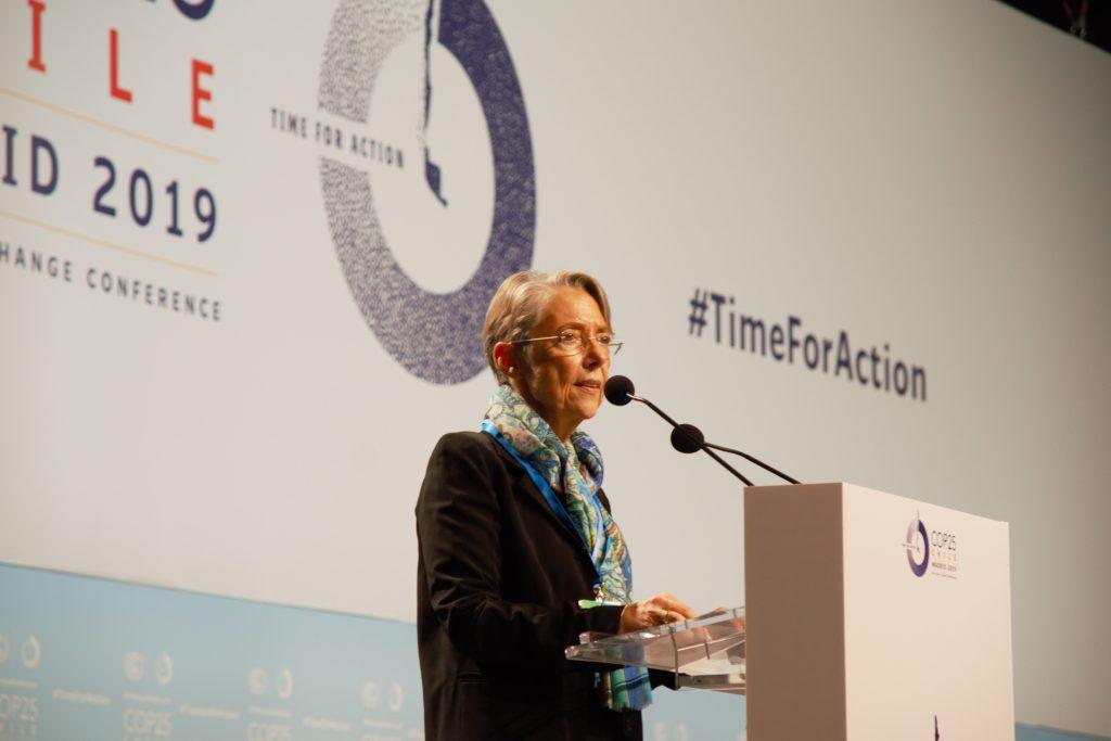 Élisabeth Borne, ministre française de la Transition écologique et solidaire, à la tribune de l'ouverture des débats de haut niveau de la COP 25, mardi 10 décembre 2019