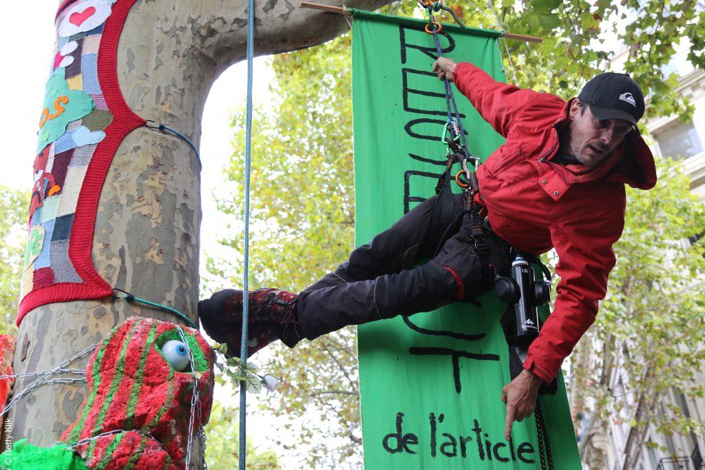 Thomas Brail accroché à un platane, en face du ministère de la Transition écologique pour dénoncer l'abattage des arbres / Crédits : Betty Klik