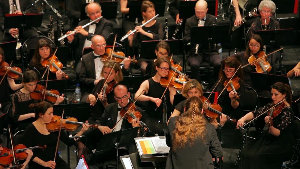 Valérie-Anne Ovise (deuxième rang, deuxième violon en partant de la gauche), participe régulièrement à des concerts avec l'orchestre symphonique de Lyon.