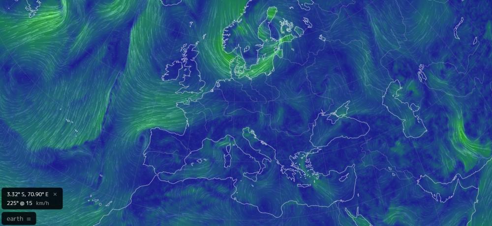 Eoliennes en mer : Des sites comme earth.nullschool permettent d'analyser en temps réel la force des vents en Europe.