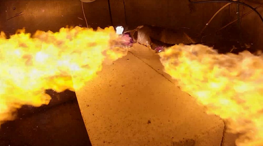 Capture d'écran d'une simulation d'un emballement thermique d'une batterie par l'Ineris.